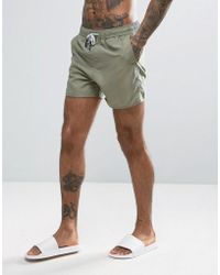 Another Influence | 3 Pocket Solid Swim Shorts In Khaki | Lyst