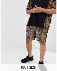 ASOS Plus – Enge Shorts aus geblümtem Velours, Kombiteil - Schwarz