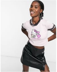 New Girl Order X Hello Kitty T-shirt With Cuddle Kitty Graphic & Frill Detail - Pink