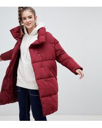 Monki Longline Puffer Jacket - Red