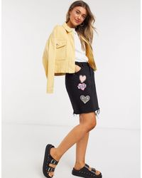 Glamorous Denim Mini Skirt With Patch Embroidery - Black