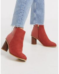 Oasis Mid Heel Ankle Boot - Red