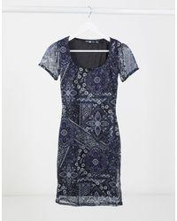 Daisy Street Платье Мини В Стиле 90-х С Цветочным Принтом -темно-синий