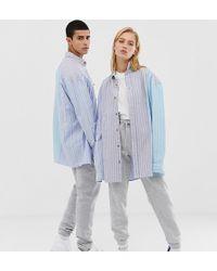 Collusion Unisex Mixed Stripe Oxford Shirt - Blue