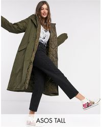 ASOS Asos Design Tall Double-layered Quilted Parka - Green