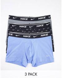 Nike Набор Из 3 Хлопковых Эластичных Боксеров-брифов Синего/серого/черного Цвета -мульти - Синий