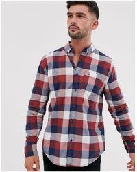 Hollister Icon Logo Slim Fit Large Check Buttondown Oxford Shirt - Blue