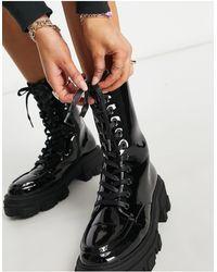 ASOS Черные Массивные Ботинки На Шнуровке - Черный