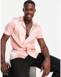 Another Influence Атласная Рубашка Светло-розового Цвета С Отложным Воротником -розовый Цвет
