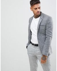 ASOS - Super Skinny Texture Blazer In Charcoal - Lyst