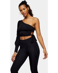 TOPSHOP One Shoulder Tie Front Top - Black