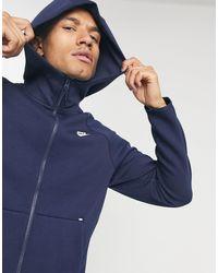 Nike – Marineblaue Kapuzenjacke aus Funktions-Fleece mit Reißverschluss - Schwarz