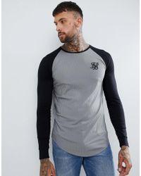 SIKSILK - Camiseta gris de canalé con manga raglán - Lyst
