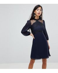 Elise Ryan Petite - High Neck Skater Dress With Lace Detail - Lyst