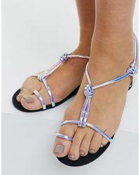 Glamorous Iridescent Flat Sandals - Multicolour