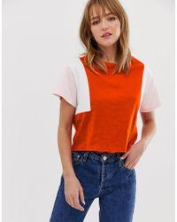 ONLY Organic Cotton Colour Block Crop T-shirt - Orange