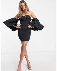 Missguided Черное Платье С Пышными Рукавами -черный