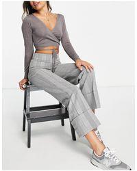 Vero Moda High Waisted Wide Leg Trouser - Gray