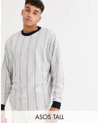 ASOS Tall Oversized Long Sleeve Vertical Stripe T-shirt - Grey