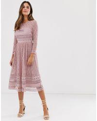 ASOS Бежевое Кружевное Приталенное Платье Миди - Розовый
