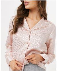 Liquorish Nightwear Jacquard Pyjama Top - Pink