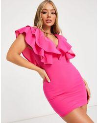 AX Paris Розовое Платье С V-образным Вырезом С Оборками -розовый