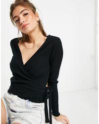 ASOS Long Sleeve Wrap Top - Black
