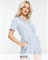 Miss Selfridge Wrap Playsuit - Blue