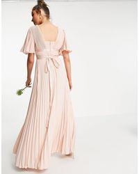 ASOS Плиссированное Платье Макси С Расклешенными Рукавами И Атласным Поясом На Талии - Розовый