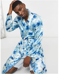 ASOS – Bademantel aus Satin mit Muster, Kombiteil - Blau