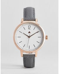 ASOS - Leather Watch With Sub Dial Detail And Faux Lizard Skin Strap In Gray - Lyst