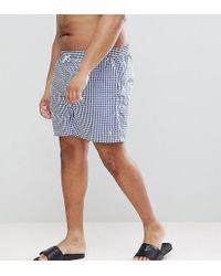 Polo Ralph Lauren - Big & Tall Traveller Gingham Check Swim Shorts Player Logo In Blue - Lyst