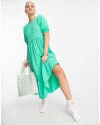 New Look Светло-зеленое Фактурное Ярусное Платье Миди -зеленый Цвет