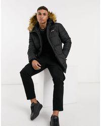 Schott Nyc Air Hooded Parka With Detachable Faux-fur Trim - Black