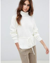 Fashion Union - Roll Neck Sweater With Waist Tie - Lyst