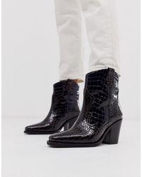 ASOS Richmond - Bottines en cuir haute qualité style cowboy - Croco multicolore - Noir