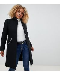 ASOS - Asos Design Petite Smart Funnel Neck Coat With Contrast Trim - Lyst