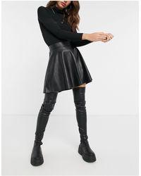 TOPSHOP - Idol Black Pu Flippy Mini Skirt - Lyst