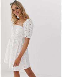 ASOS - Milkmaid - Mini-jurk Met Broderie - Lyst