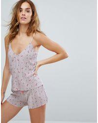 New Look - Printed Plisse Cami Pyjama Top - Lyst