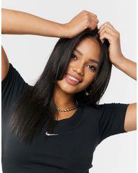 Nike Черный Кроп-топ С Короткими Рукавами Essentials