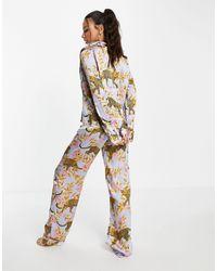 ASOS Asos Design Tall Exclusive Leopard Botanical Satin Pyjama Set - Purple