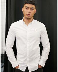 Tommy Hilfiger Белая Оксфордская Приталенная Рубашка -белый