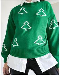 ASOS Maglione natalizio verde con alberi