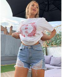 New Girl Order Oversized Dragon Beach T-shirt - White