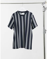 TOPMAN - T-shirt a righe blu navy - Lyst