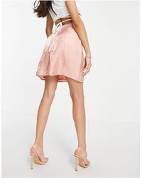 Club L London Shimmer Pencil Mini Skirt - Pink