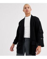 ASOS Tall - Jersey Kimono Met Utility Details - Zwart