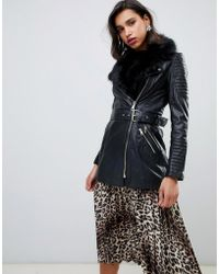 River Island - Longline Real Leather Jacket With Faux Fur Trim In Black - Lyst