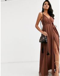 ASOS Geplooide Lange Cami-jurk Met Grofgenerfde Taille Met Strik - Geel